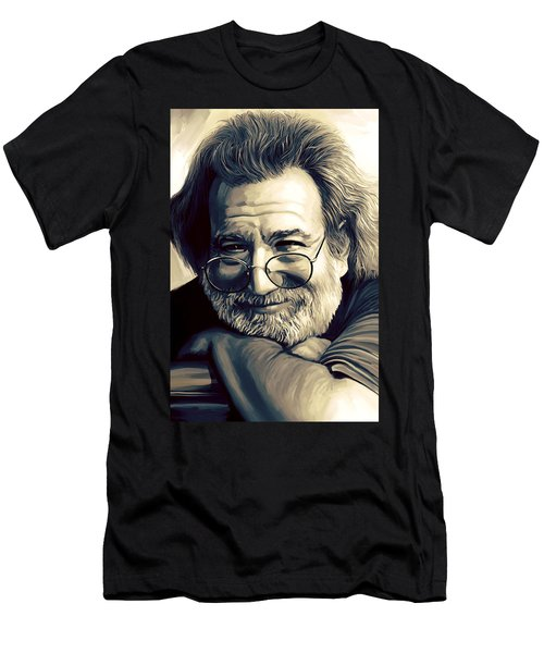 Jerry Garcia Artwork  Men's T-Shirt (Slim Fit)