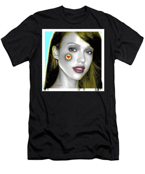Jessica Alba Pop Art, Portrait, Contemporary Art On Canvas, Famous Celebrities Men's T-Shirt (Slim Fit) by Dr Eight Love