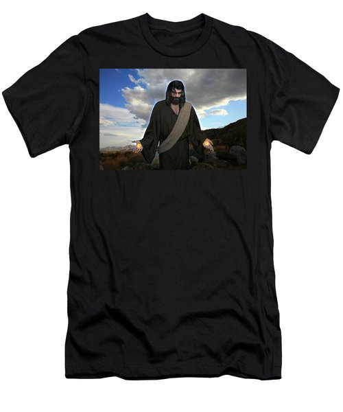 Jesus Christ- And He Withdrew Himself Into The Wilderness And Prayed Men's T-Shirt (Athletic Fit)