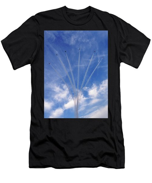 Men's T-Shirt (Athletic Fit) featuring the photograph Jet Planes Formation In Sky by Pradeep Raja Prints
