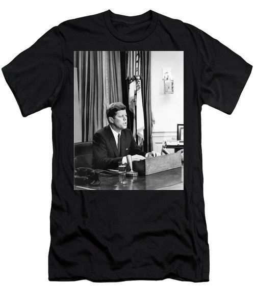 Jfk Addresses The Nation Painting Men's T-Shirt (Athletic Fit)
