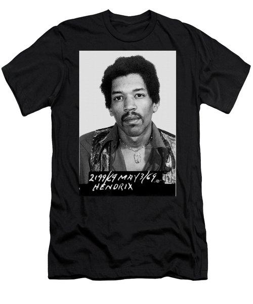 Jimi Hendrix Mug Shot Vertical Men's T-Shirt (Athletic Fit)
