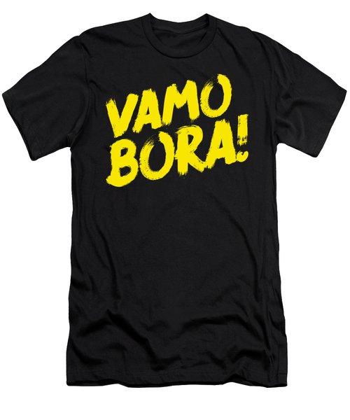 Jiu Jitsu Design Vamo Bora Yellow Light Martial Arts Men's T-Shirt (Athletic Fit)