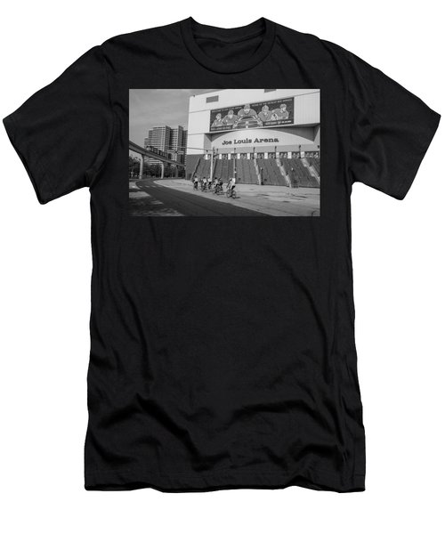 Joe Louis Arena Black And White With Bikers Men's T-Shirt (Athletic Fit)