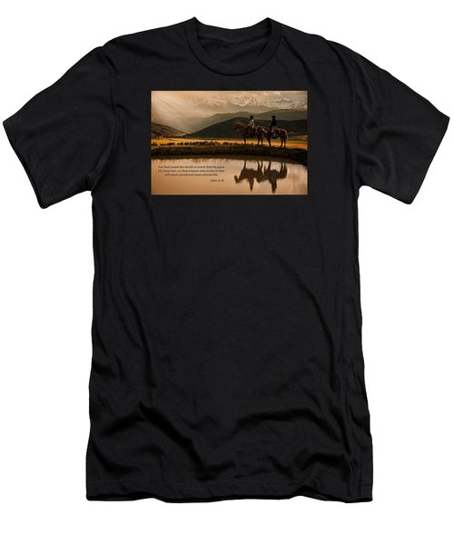 Men's T-Shirt (Slim Fit) featuring the photograph John 3 16 Scripture And Picture by Ken Smith