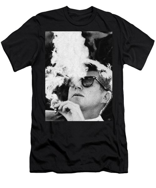 John F Kennedy Cigar And Sunglasses Black And White Men's T-Shirt (Athletic Fit)