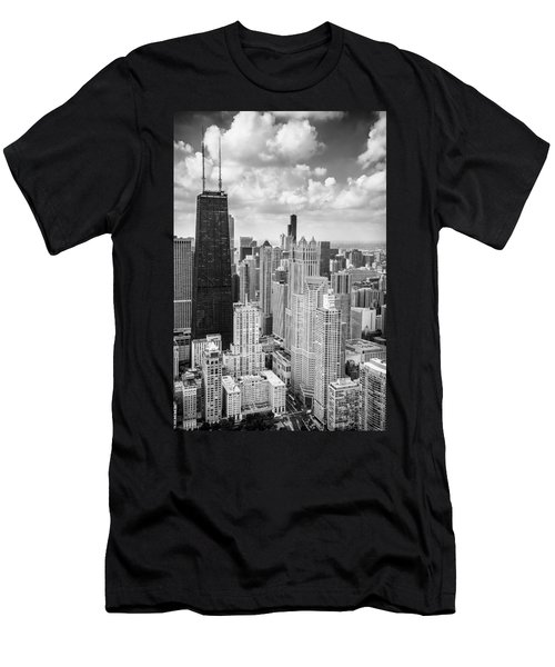 John Hancock Building In The Gold Coast Black And White Men's T-Shirt (Athletic Fit)