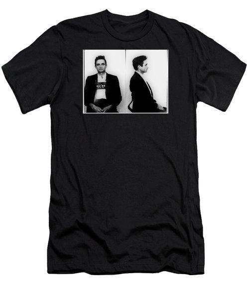 Johnny Cash Mug Shot Horizontal Men's T-Shirt (Slim Fit) by Tony Rubino