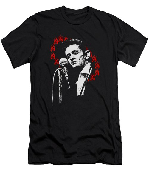 Johnny Cash Ring Of Fire T Shirt Print Men's T-Shirt (Slim Fit) by Melissa O'Brien