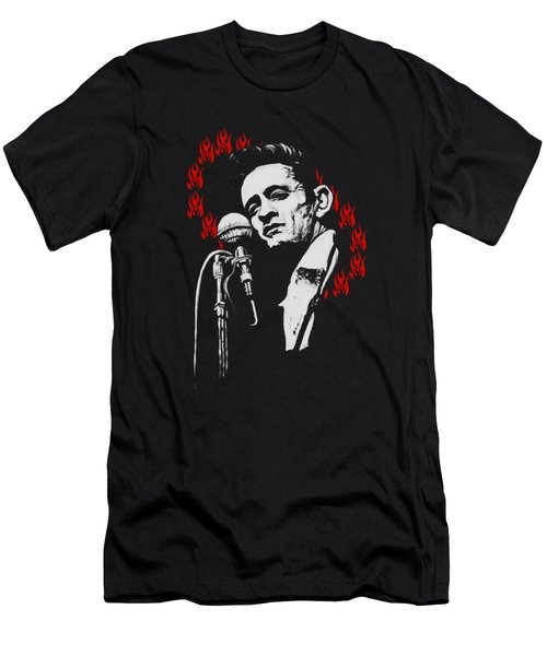 Johnny Cash Ring Of Fire T Shirt Print Men's T-Shirt (Athletic Fit)