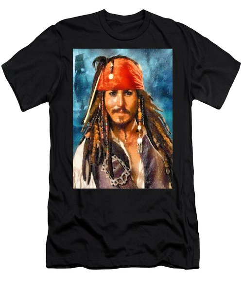 Johnny Depp As Jack Sparrow Men's T-Shirt (Athletic Fit)