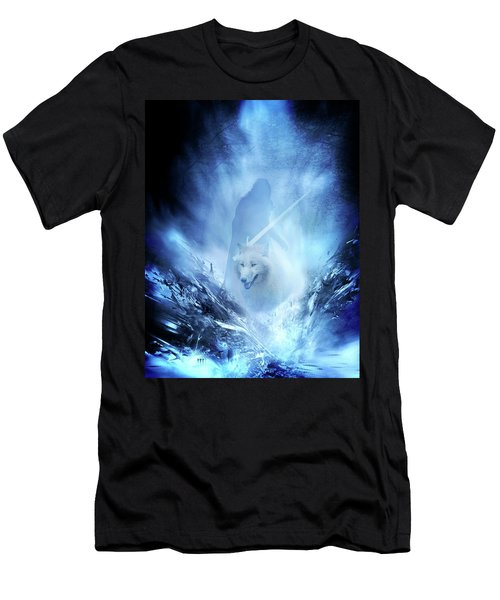 Jon Snow And Ghost - Game Of Thrones Men's T-Shirt (Slim Fit) by Lilia D