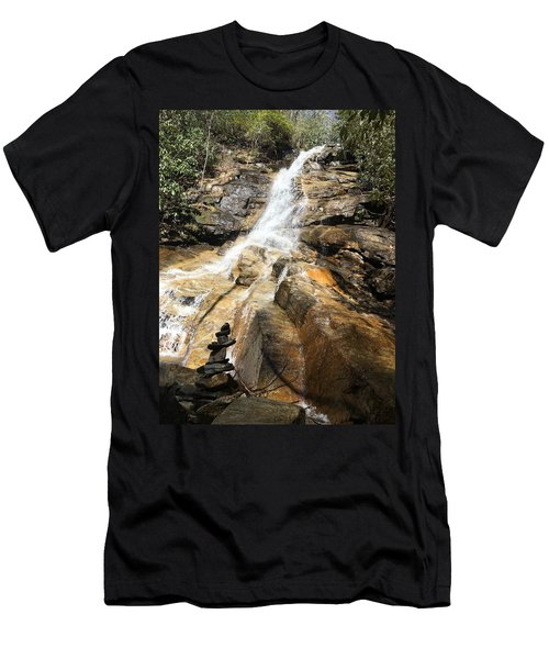 Men's T-Shirt (Athletic Fit) featuring the photograph Jones Gap Falls And Monument by Kelly Hazel