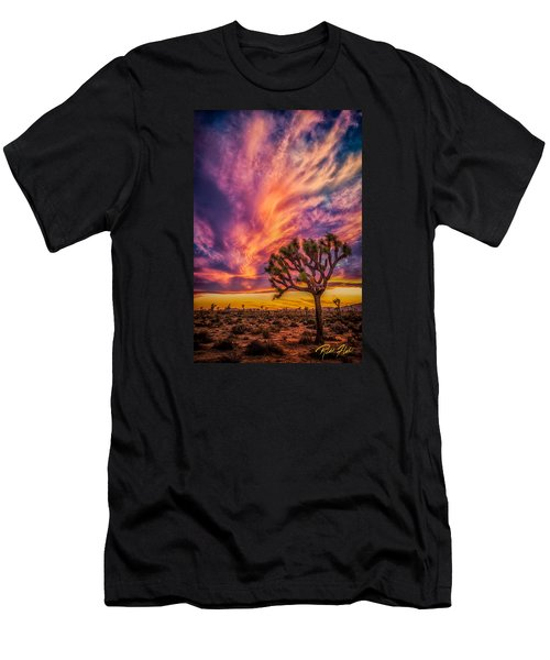 Men's T-Shirt (Athletic Fit) featuring the photograph Joshua Tree In The Glowing Swirls by Rikk Flohr