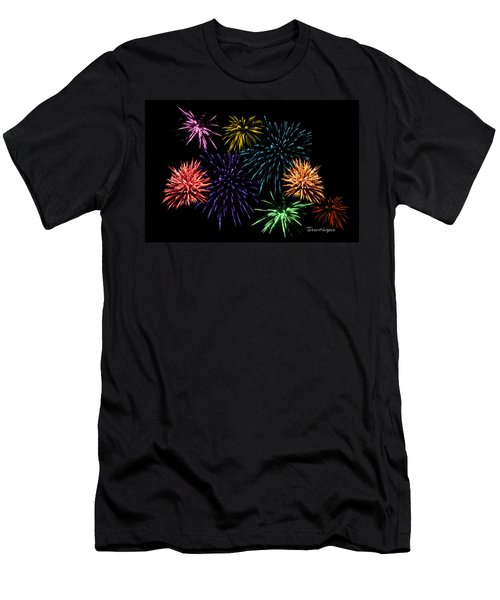 Men's T-Shirt (Slim Fit) featuring the photograph July Fireworks Montage by Terri Harper