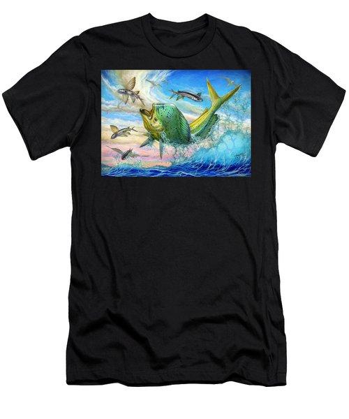 Jumping Mahi Mahi And Flyingfish Men's T-Shirt (Athletic Fit)