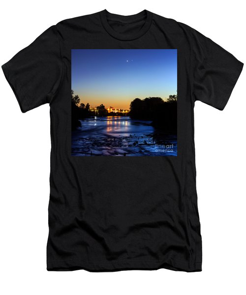 Jupiter And Venus Over The Willamette River In Eugene Oregon Men's T-Shirt (Athletic Fit)