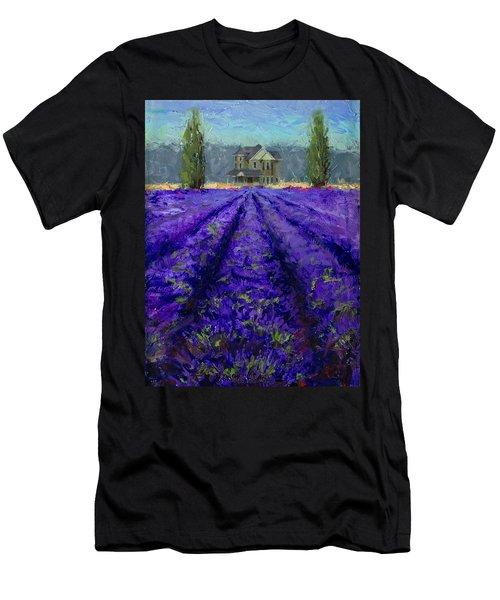 Just Beyond - Plein Air Lavender Landscape Impressionistic Painting Men's T-Shirt (Athletic Fit)