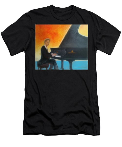 Justin Levitt At Piano Red Blue Yellow Men's T-Shirt (Athletic Fit)
