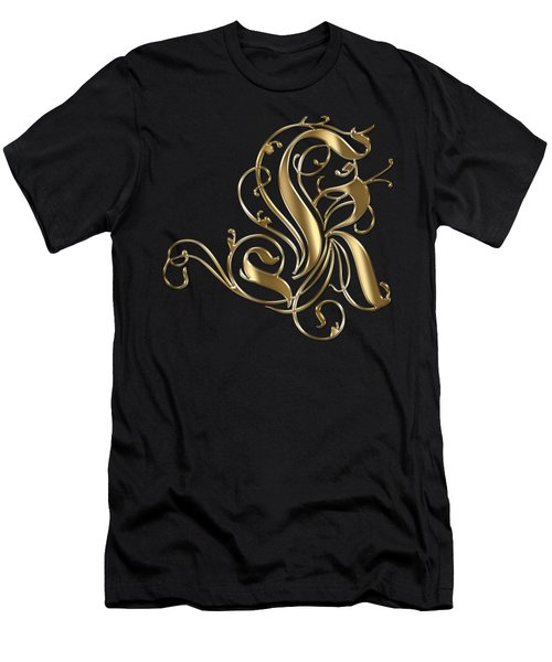 K Golden Ornamental Letter Typography Men's T-Shirt (Athletic Fit)