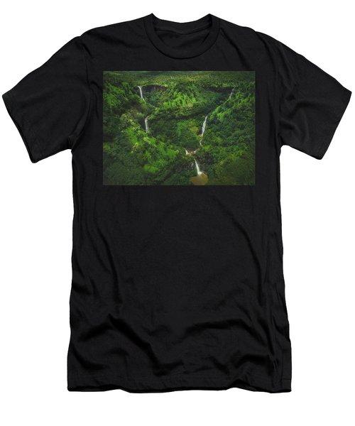 Kahili Falls Aerial Men's T-Shirt (Athletic Fit)