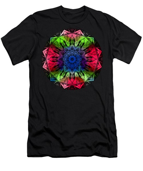 Men's T-Shirt (Athletic Fit) featuring the digital art Kaleidoscope - Warm And Cool Colors by Deleas Kilgore
