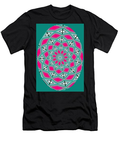 Kaleidoscopic Design Oval In Green And Pink Men's T-Shirt (Athletic Fit)