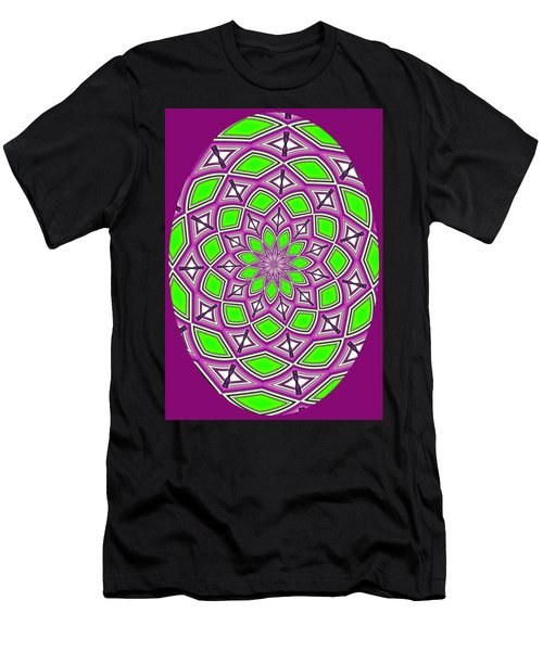 Kaleidoscopic Design Oval In Purple And Lime Green Men's T-Shirt (Athletic Fit)