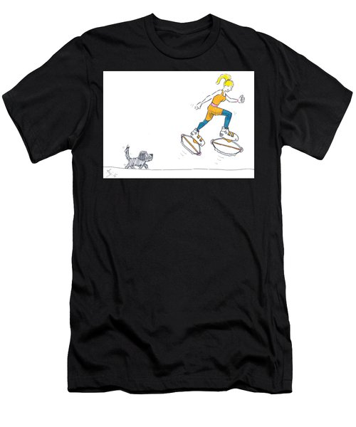 Kangoo Jumps Bouncy Shoes Walking The Dog Keep Fit Cartoon Men's T-Shirt (Athletic Fit)