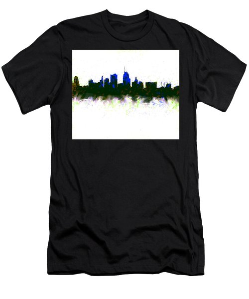 Kansas City Skyline Blue  Men's T-Shirt (Slim Fit) by Enki Art