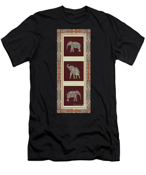 Kashmir Elephants - Vintage Style Patterned Tribal Boho Chic Art Men's T-Shirt (Athletic Fit)