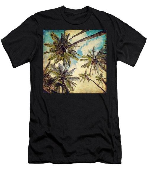 Kauai Island Palms - Blue Hawaii Photography Men's T-Shirt (Athletic Fit)
