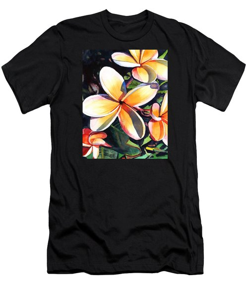 Kauai Rainbow Plumeria Men's T-Shirt (Slim Fit) by Marionette Taboniar