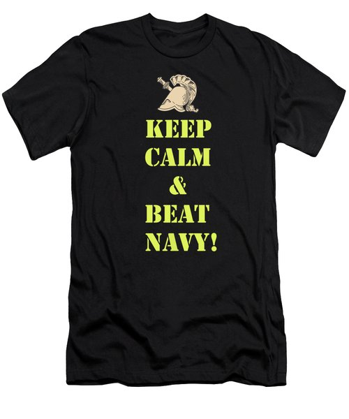 Keep Calm And Beat Navy Men's T-Shirt (Athletic Fit)