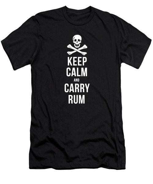Keep Calm And Carry Rum Pirate Tee Men's T-Shirt (Athletic Fit)