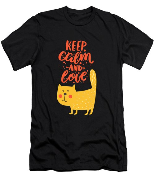 Keep Calm And Love Cute Animals Men's T-Shirt (Athletic Fit)