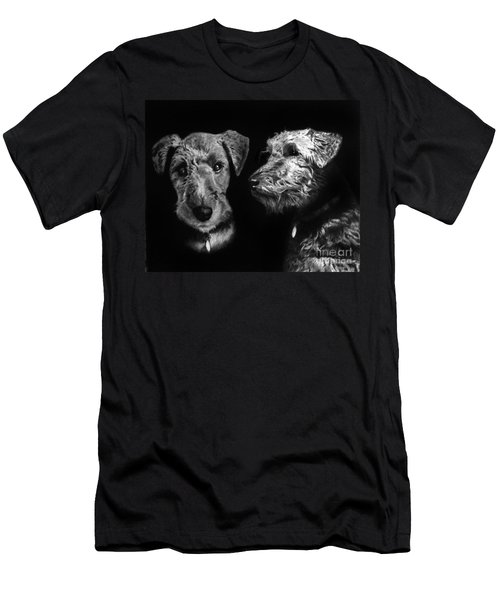 Men's T-Shirt (Slim Fit) featuring the drawing Keeper The Welsh Terrier by Peter Piatt
