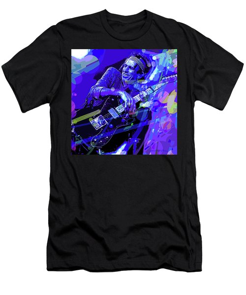 Keith Richards Blue Men's T-Shirt (Athletic Fit)