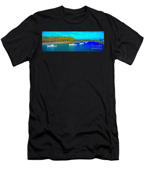 Men's T-Shirt (Athletic Fit) featuring the photograph Kennebunkport, Maine, Lobster Boats by Tom Jelen