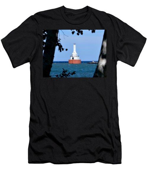 Keweenaw Waterway Lighthouse. Men's T-Shirt (Slim Fit) by Keith Stokes