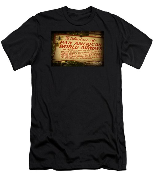 Key West Florida - Pan American Airways Birthplace Sign Men's T-Shirt (Slim Fit) by John Stephens