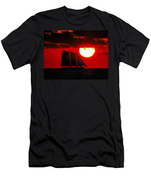 Key West Sunset Sail Silhouette Men's T-Shirt (Slim Fit) by Bob Slitzan