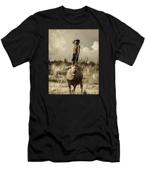 Kid And Cow Men's T-Shirt (Athletic Fit)