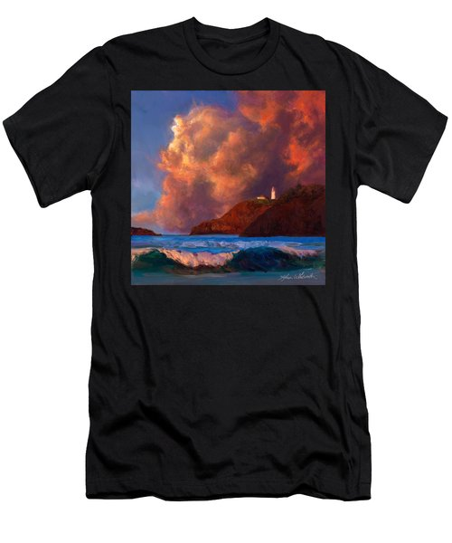 Kilauea Lighthouse - Hawaiian Cliffs Sunset Seascape And Clouds Men's T-Shirt (Athletic Fit)