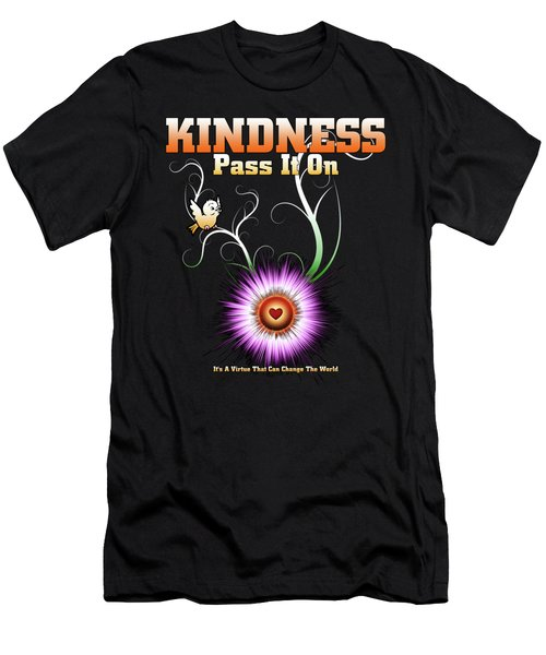 Kindness - Pass It On Starburst Heart Men's T-Shirt (Athletic Fit)