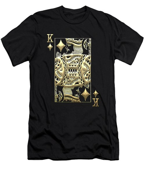 King Of Diamonds In Gold On Black  Men's T-Shirt (Athletic Fit)