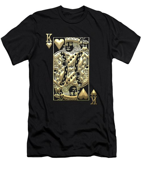 King Of Hearts In Gold On Black Men's T-Shirt (Athletic Fit)