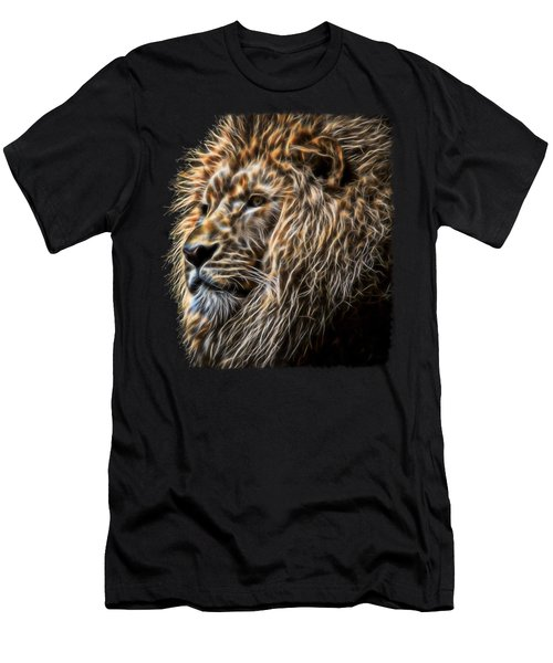 King Of The Jungle - Fractal Male Lion Men's T-Shirt (Athletic Fit)