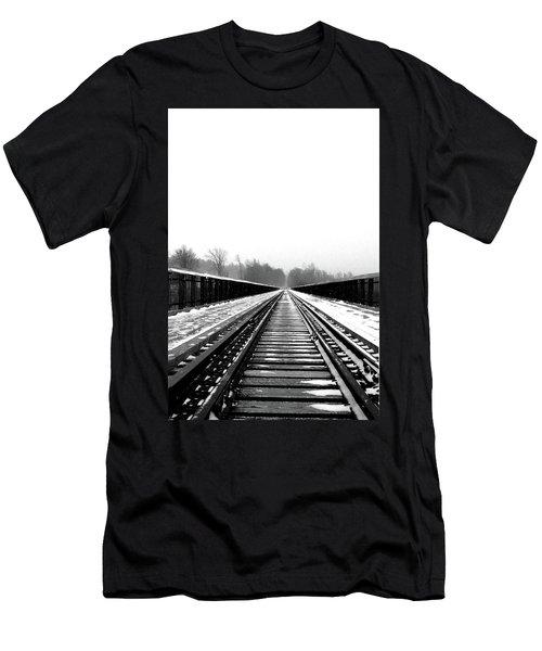 Men's T-Shirt (Slim Fit) featuring the digital art Kinzua Bridge Skywalk by Sharon Batdorf