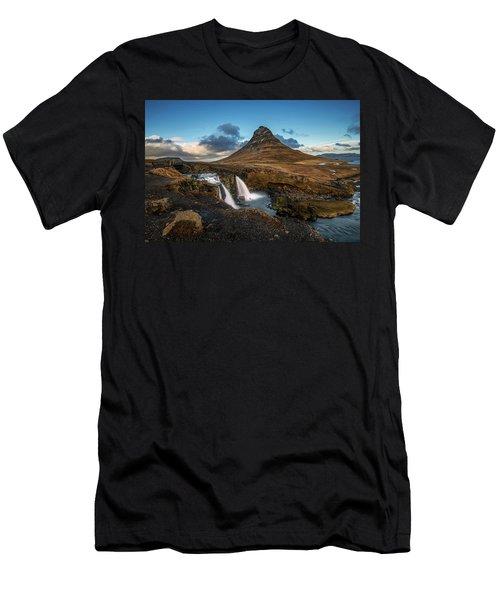 Men's T-Shirt (Athletic Fit) featuring the photograph Kirkjufellsfoss Waterfall And Kirkjufell Mountain, Iceland by Pradeep Raja Prints